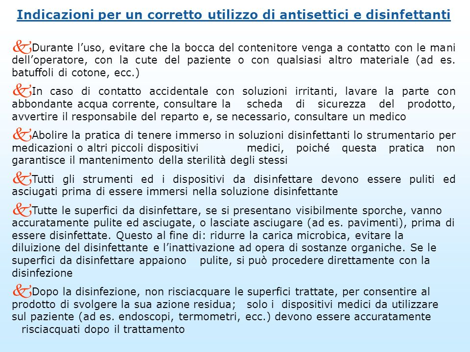 Indicazioni per un corretto utilizzo di antisettici e disinfettanti
