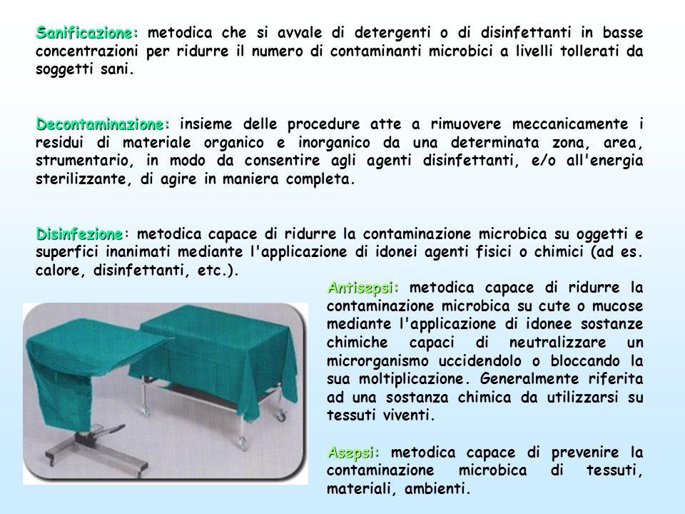 Sanificazione: metodica che si avvale di detergenti o di disinfettanti in basse concentrazioni per ridurre il numero di contaminanti microbici a livelli tollerati da soggetti sani.
