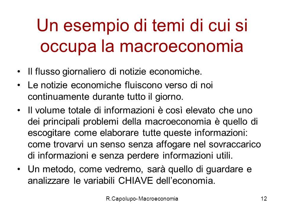 Un esempio di temi di cui si occupa la macroeconomia