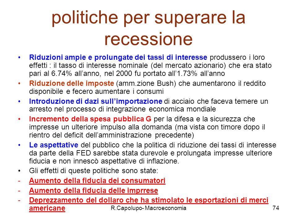politiche per superare la recessione
