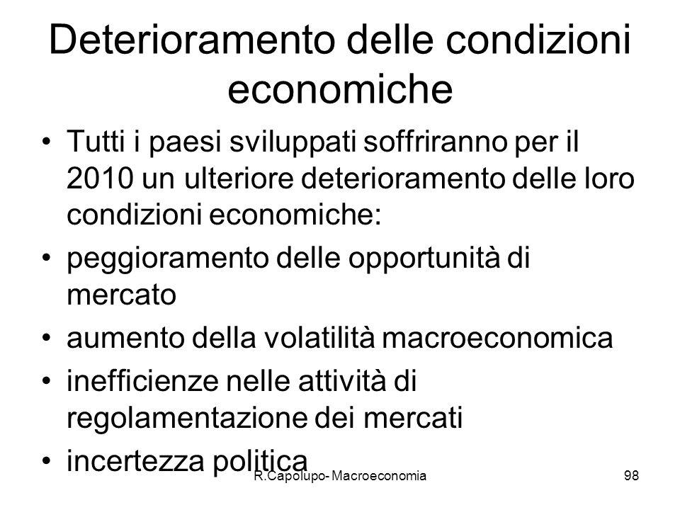 Deterioramento delle condizioni economiche