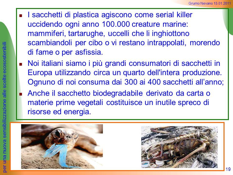 I sacchetti di plastica agiscono come serial killer uccidendo ogni anno 100.000 creature marine: mammiferi, tartarughe, uccelli che li inghiottono scambiandoli per cibo o vi restano intrappolati, morendo di fame o per asfissia.