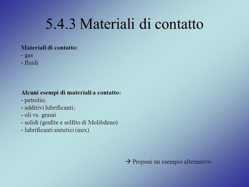 5.4.3 Materiali di contatto Materiali di contatto: - gas fluidi