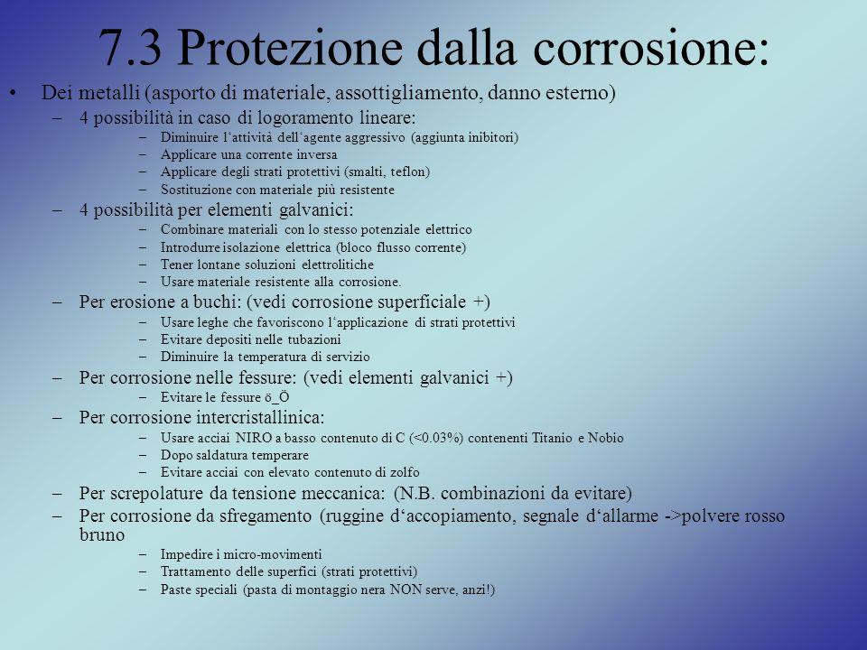 7.3 Protezione dalla corrosione: