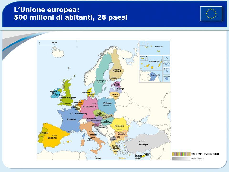 L'Unione europea: 500 milioni di abitanti, 28 paesi