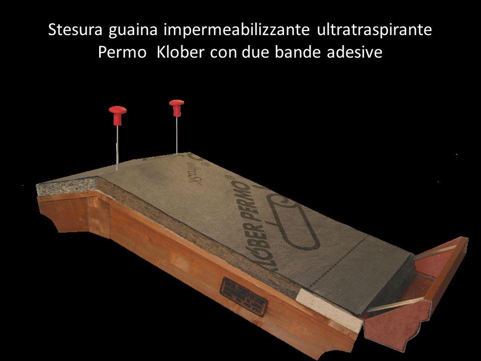 Stesura guaina impermeabilizzante ultratraspirante Permo Klober con due bande adesive