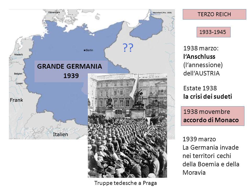 GRANDE GERMANIA 1939 1938 marzo: l'Anschluss (l'annessione)
