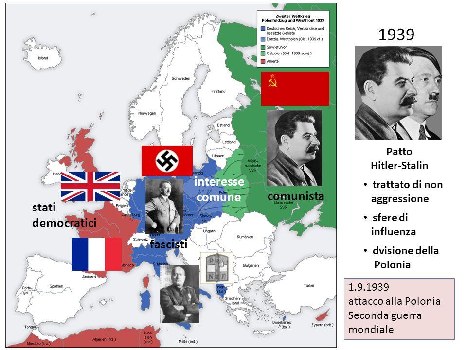 1939 interesse comune comunista stati democratici fascisti Patto