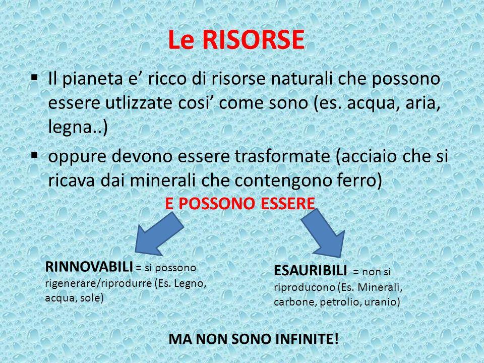 Le RISORSE Il pianeta e' ricco di risorse naturali che possono essere utlizzate cosi' come sono (es. acqua, aria, legna..)