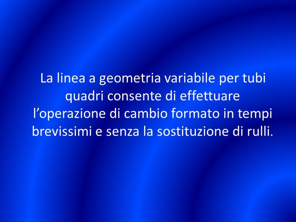 La linea a geometria variabile per tubi quadri consente di effettuare l'operazione di cambio formato in tempi brevissimi e senza la sostituzione di rulli.