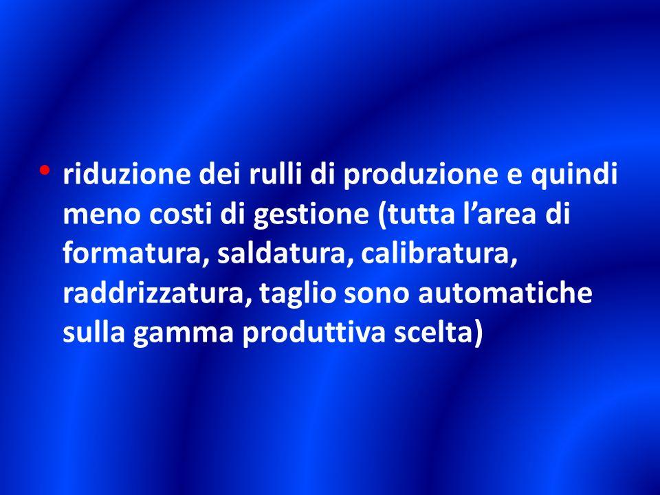 riduzione dei rulli di produzione e quindi meno costi di gestione (tutta l'area di formatura, saldatura, calibratura, raddrizzatura, taglio sono automatiche sulla gamma produttiva scelta)