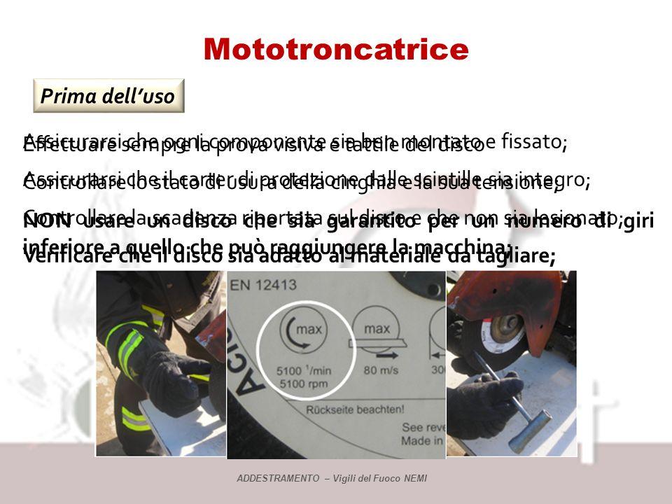 Mototroncatrice Prima dell'uso