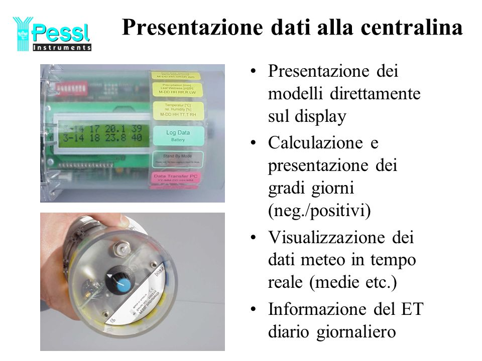 Presentazione dati alla centralina