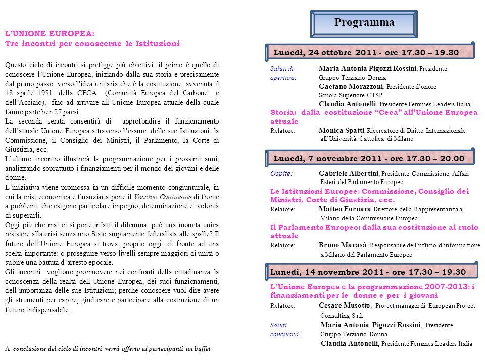 Programma L'UNIONE EUROPEA: Tre incontri per conoscerne le Istituzioni