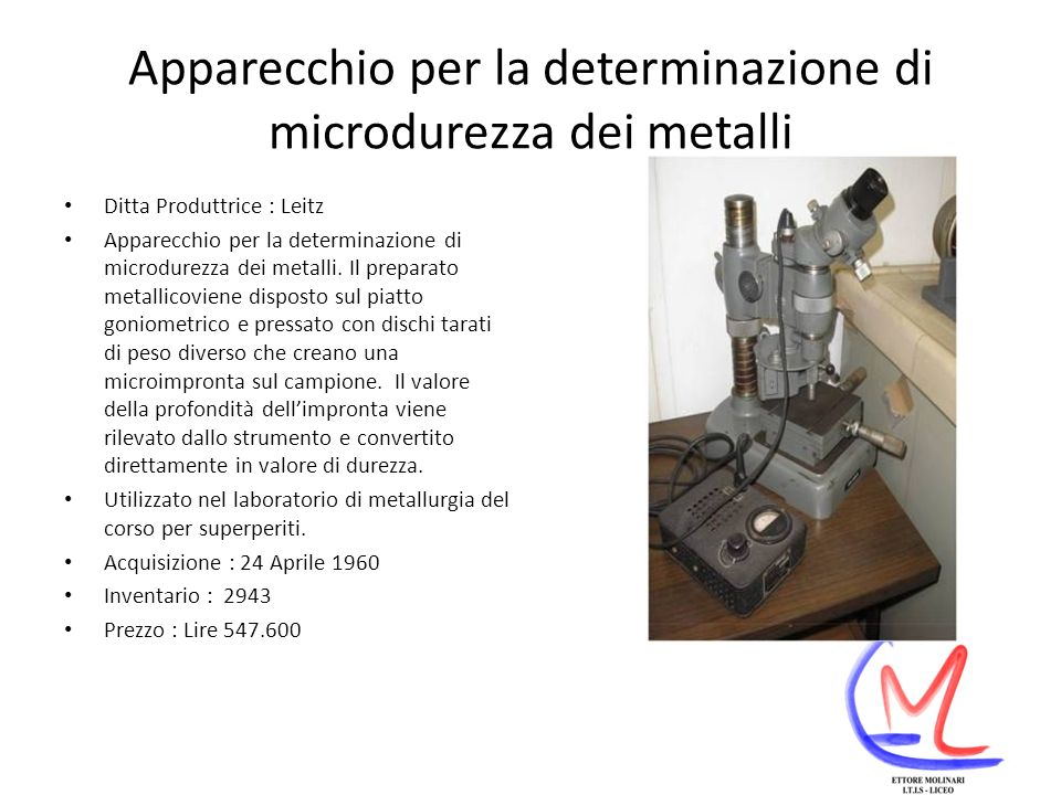 Apparecchio per la determinazione di microdurezza dei metalli