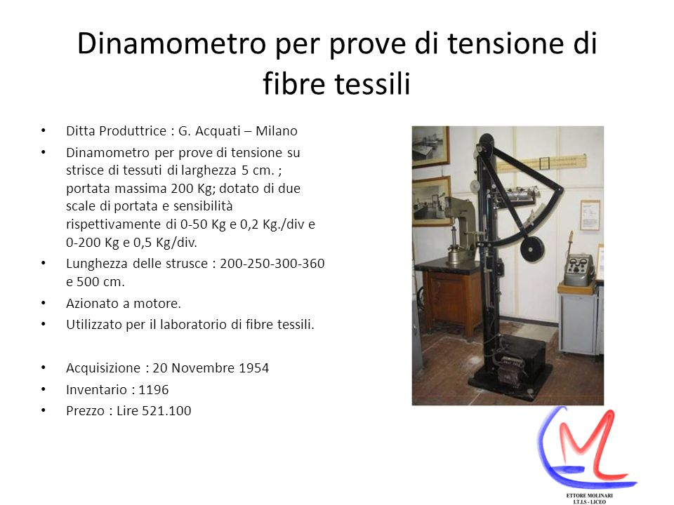 Dinamometro per prove di tensione di fibre tessili