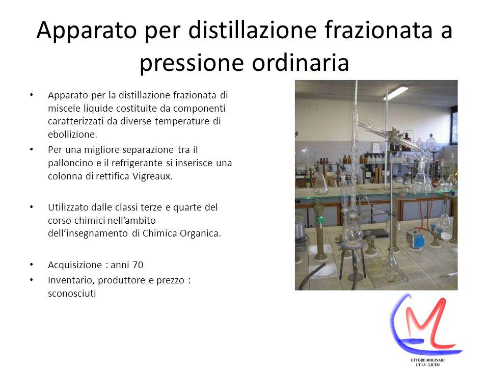 Apparato per distillazione frazionata a pressione ordinaria