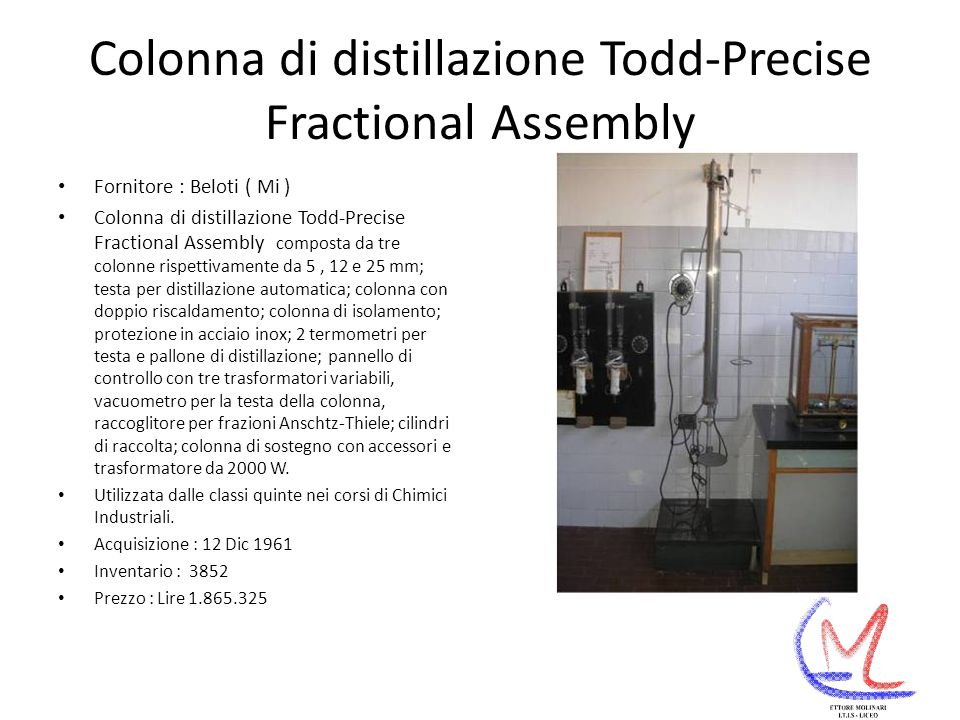 Colonna di distillazione Todd-Precise Fractional Assembly