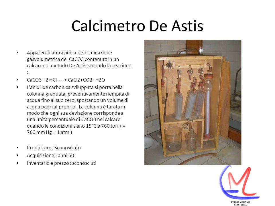 Calcimetro De Astis Apparecchiatura per la determinazione gasvolumetrica del CaCO3 contenuto in un calcare col metodo De Astis secondo la reazione :