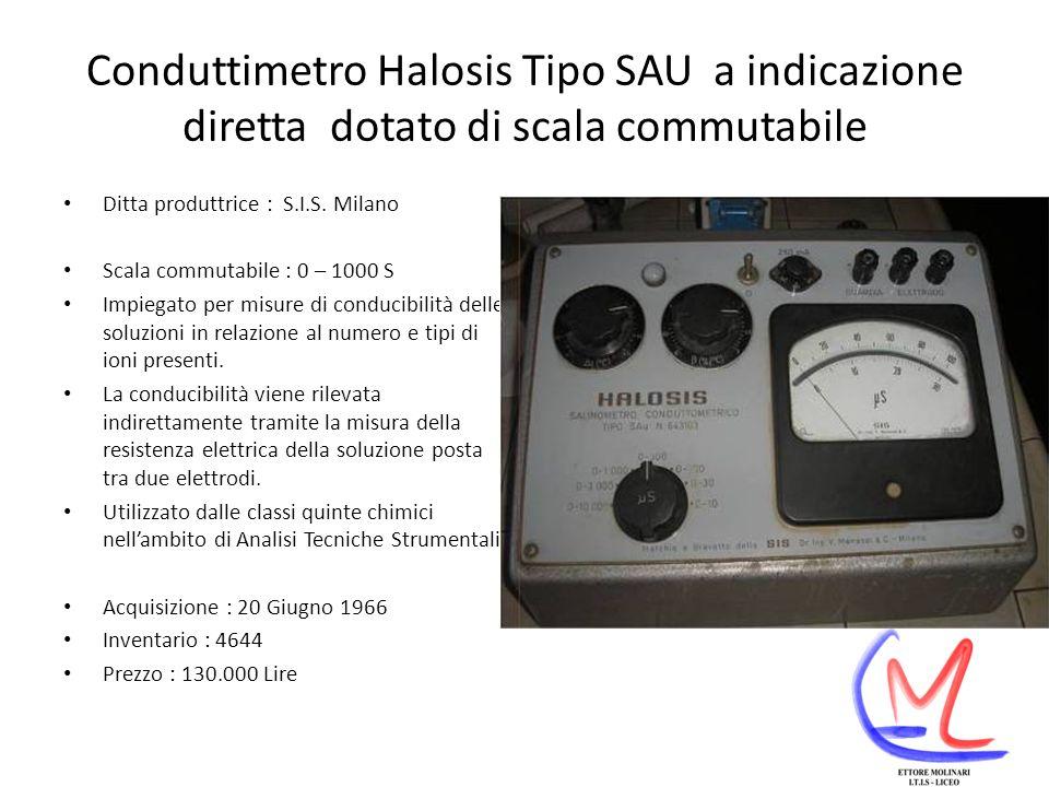 Conduttimetro Halosis Tipo SAU a indicazione diretta dotato di scala commutabile