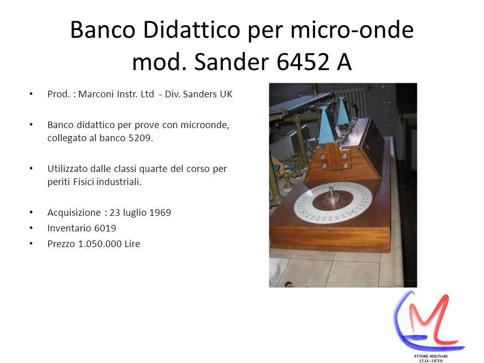 Banco Didattico per micro-onde mod. Sander 6452 A