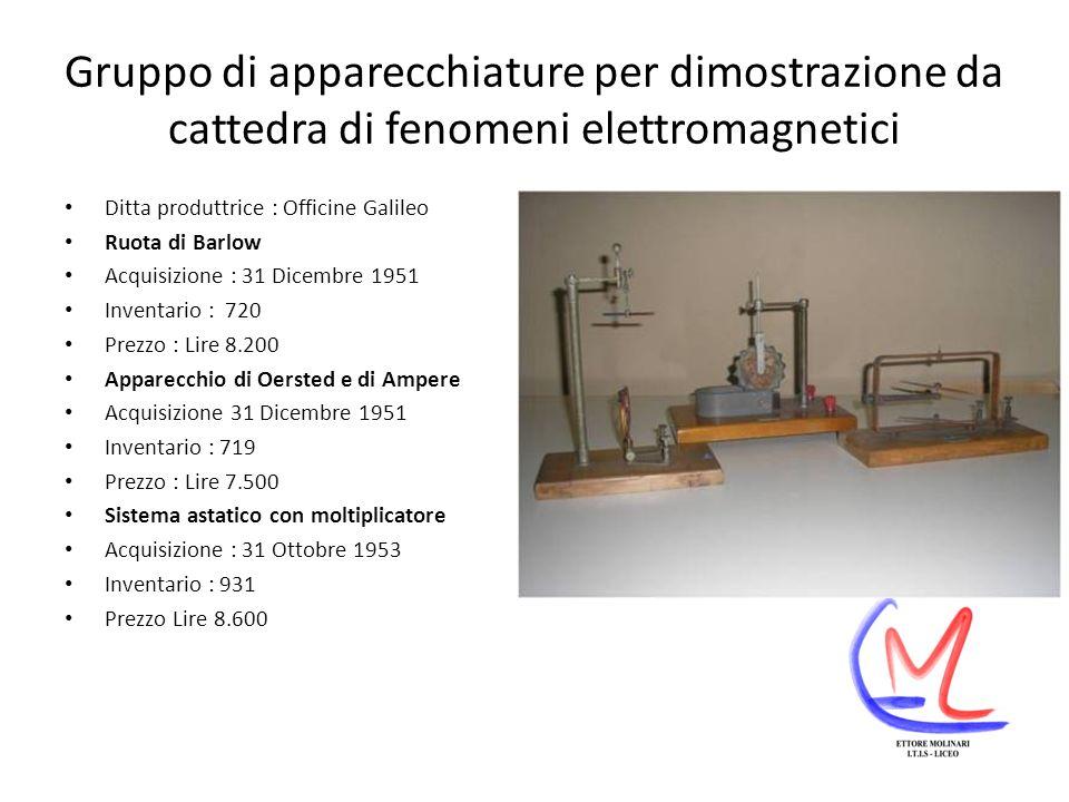 Gruppo di apparecchiature per dimostrazione da cattedra di fenomeni elettromagnetici