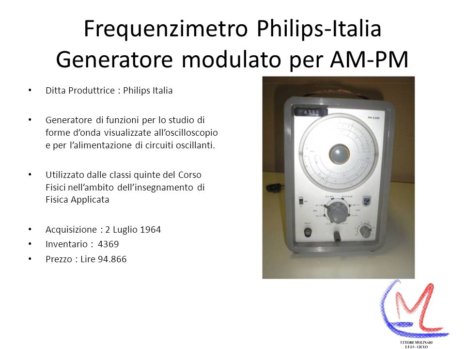 Frequenzimetro Philips-Italia Generatore modulato per AM-PM