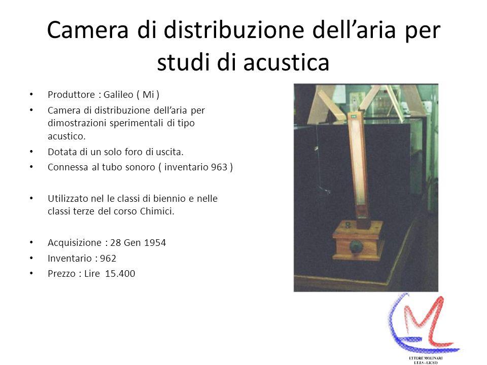 Camera di distribuzione dell'aria per studi di acustica