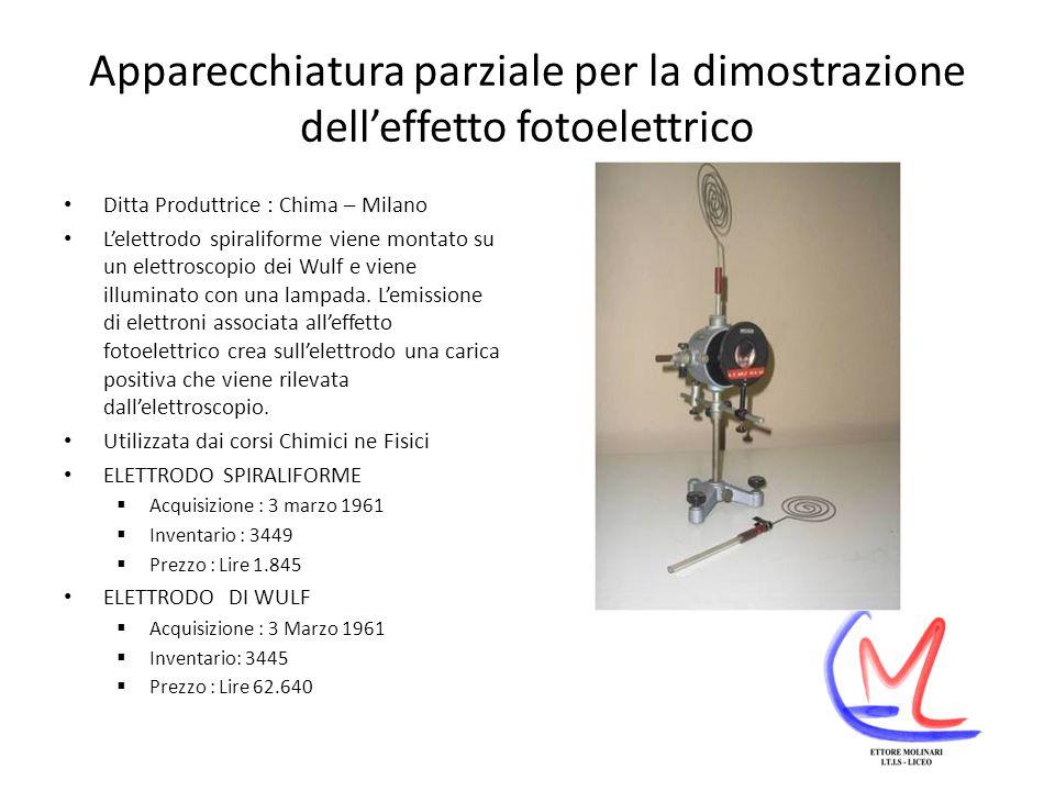 Apparecchiatura parziale per la dimostrazione dell'effetto fotoelettrico