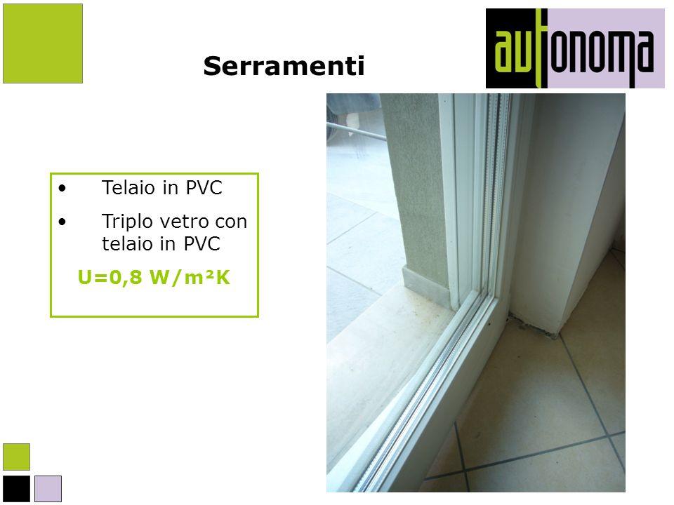 Serramenti Telaio in PVC Triplo vetro con telaio in PVC U=0,8 W/m²K