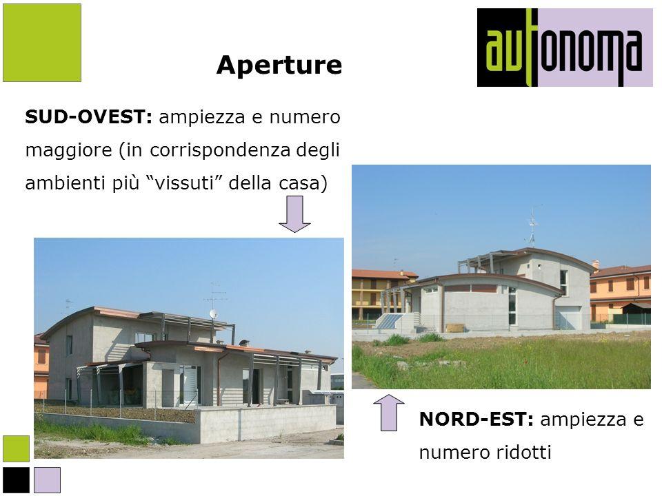 Aperture SUD-OVEST: ampiezza e numero. maggiore (in corrispondenza degli. ambienti più vissuti della casa)