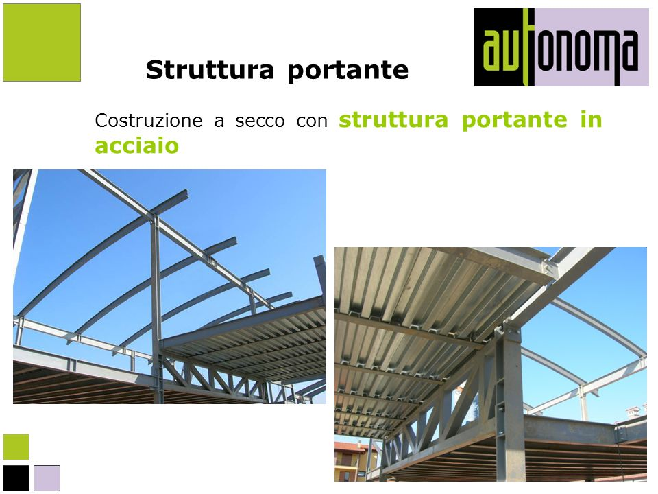 Struttura portante Costruzione a secco con struttura portante in acciaio