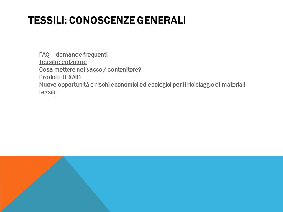 Tessili: Conoscenze generali