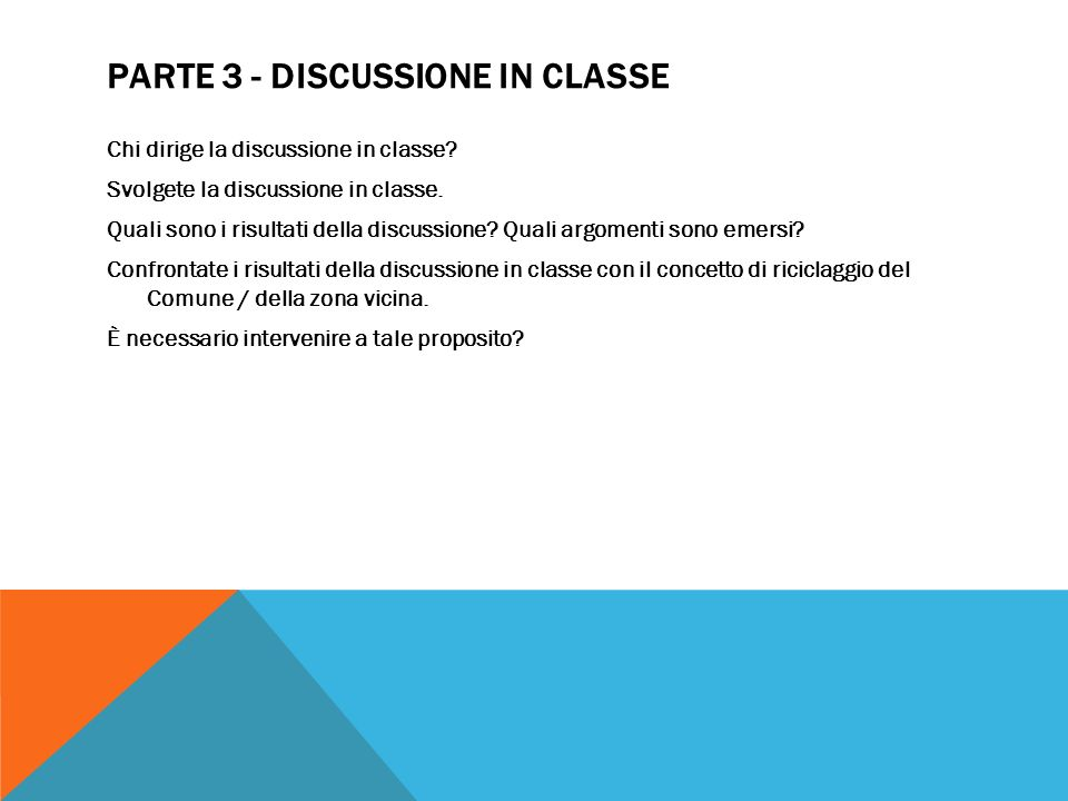 Parte 3 - Discussione in classe