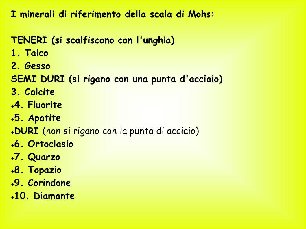 I minerali di riferimento della scala di Mohs: