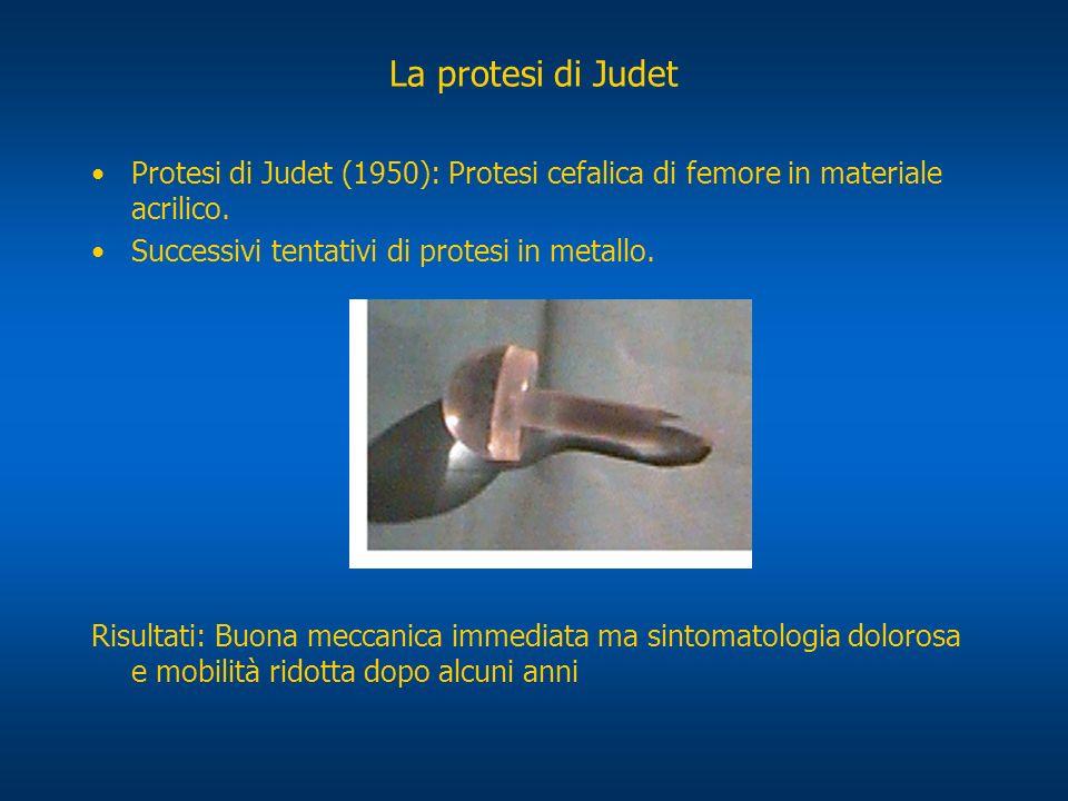 La protesi di Judet Protesi di Judet (1950): Protesi cefalica di femore in materiale acrilico. Successivi tentativi di protesi in metallo.