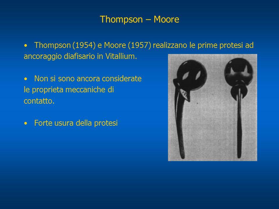 Thompson – Moore Thompson (1954) e Moore (1957) realizzano le prime protesi ad. ancoraggio diafisario in Vitallium.