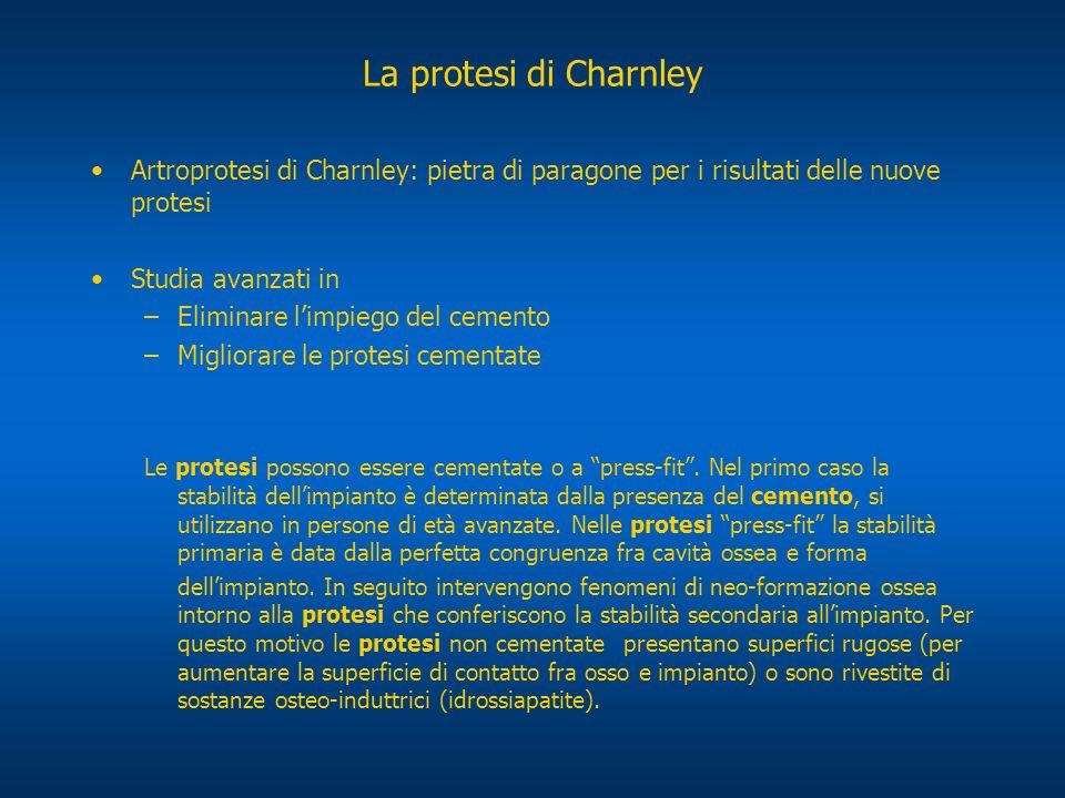 La protesi di Charnley Artroprotesi di Charnley: pietra di paragone per i risultati delle nuove protesi.