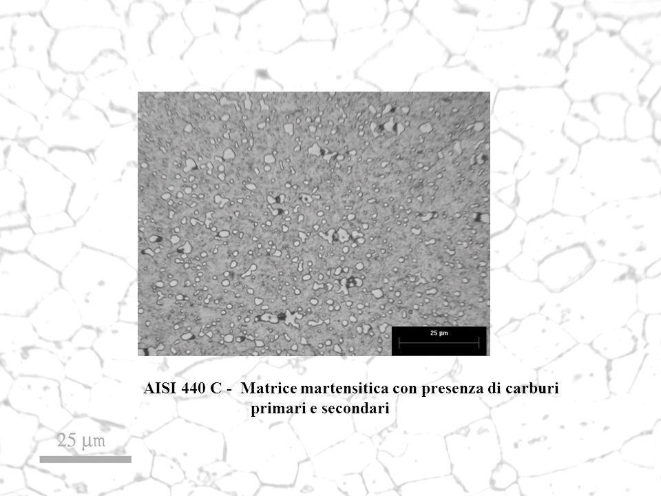 AISI 440 C - Matrice martensitica con presenza di carburi