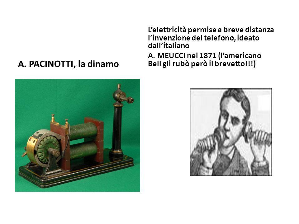 L'elettricità permise a breve distanza l'invenzione del telefono, ideato dall'italiano