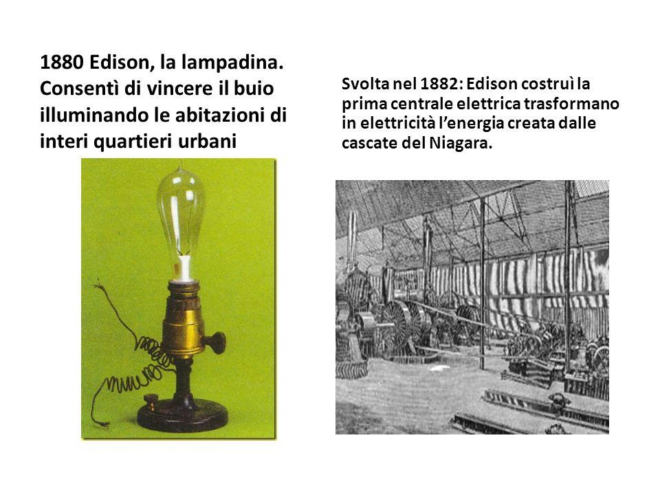 1880 Edison, la lampadina. Consentì di vincere il buio illuminando le abitazioni di interi quartieri urbani