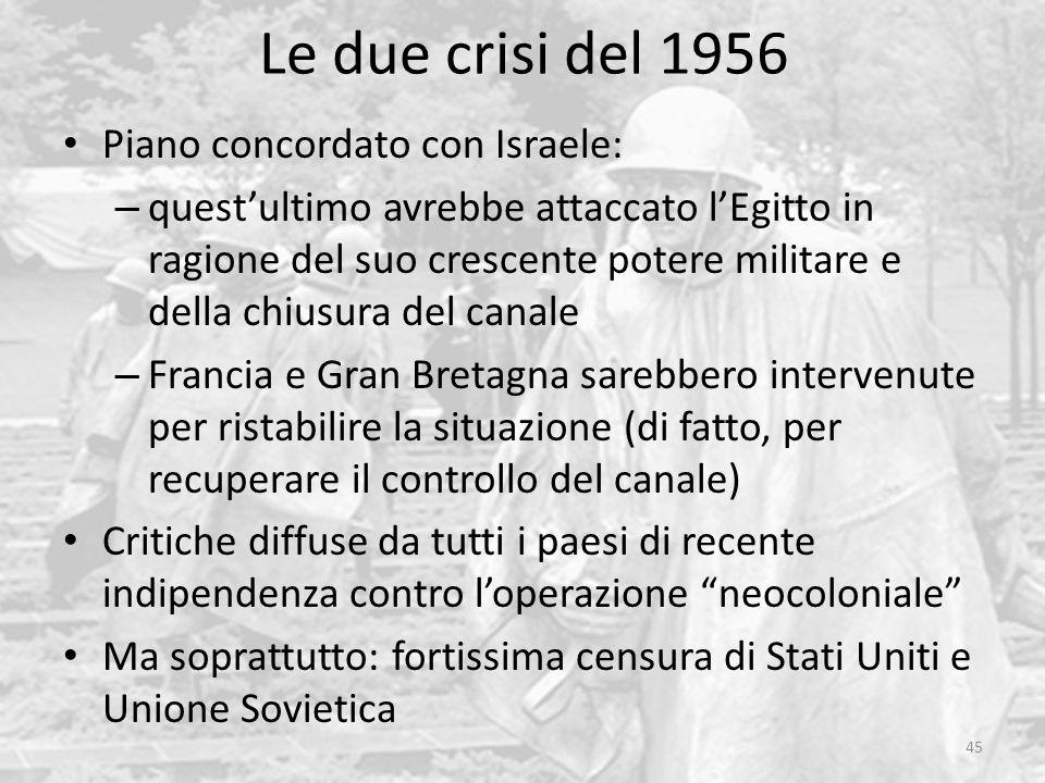 Le due crisi del 1956 Piano concordato con Israele: