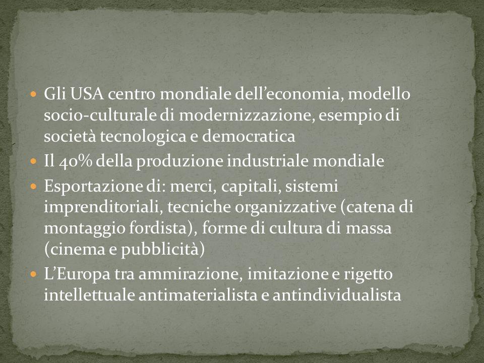 Gli USA centro mondiale dell'economia, modello socio-culturale di modernizzazione, esempio di società tecnologica e democratica
