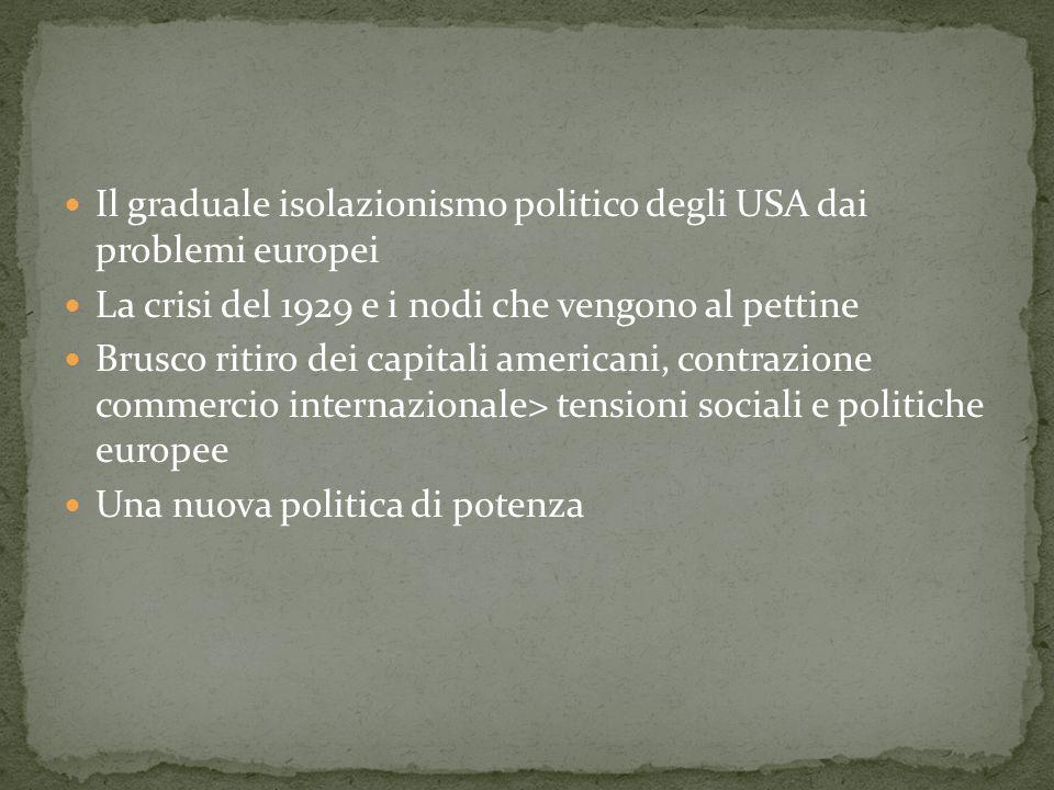 Il graduale isolazionismo politico degli USA dai problemi europei