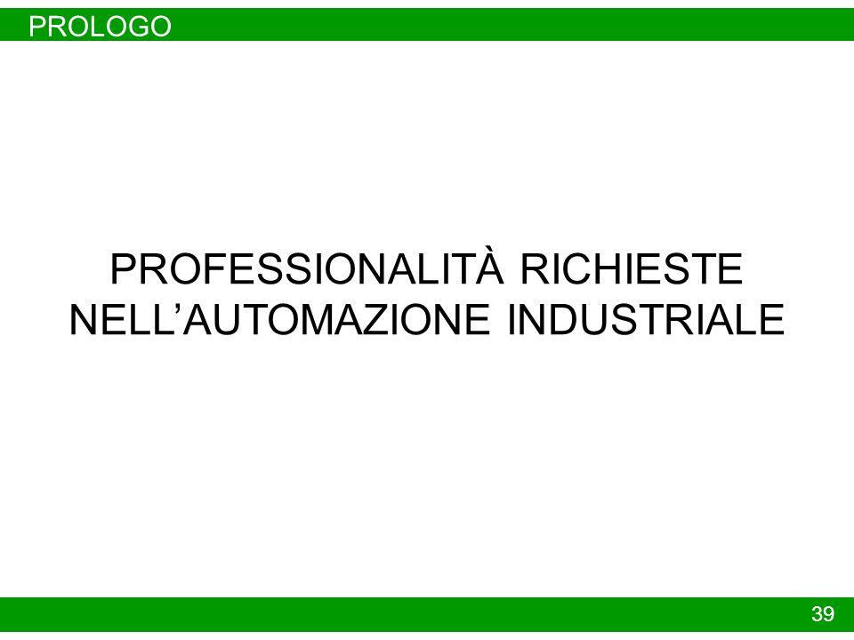 PROFESSIONALITÀ RICHIESTE NELL'AUTOMAZIONE INDUSTRIALE