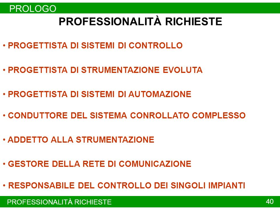 PROFESSIONALITÀ RICHIESTE