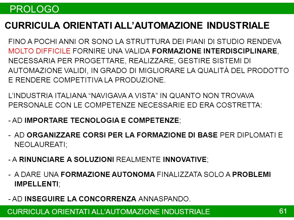 PROLOGO CURRICULA ORIENTATI ALL'AUTOMAZIONE INDUSTRIALE