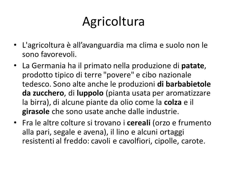 AgricolturaL agricoltura è all'avanguardia ma clima e suolo non le sono favorevoli.