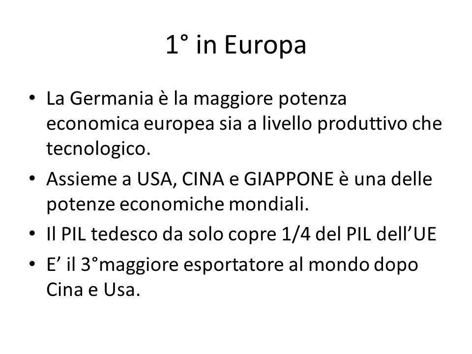 1° in Europa La Germania è la maggiore potenza economica europea sia a livello produttivo che tecnologico.