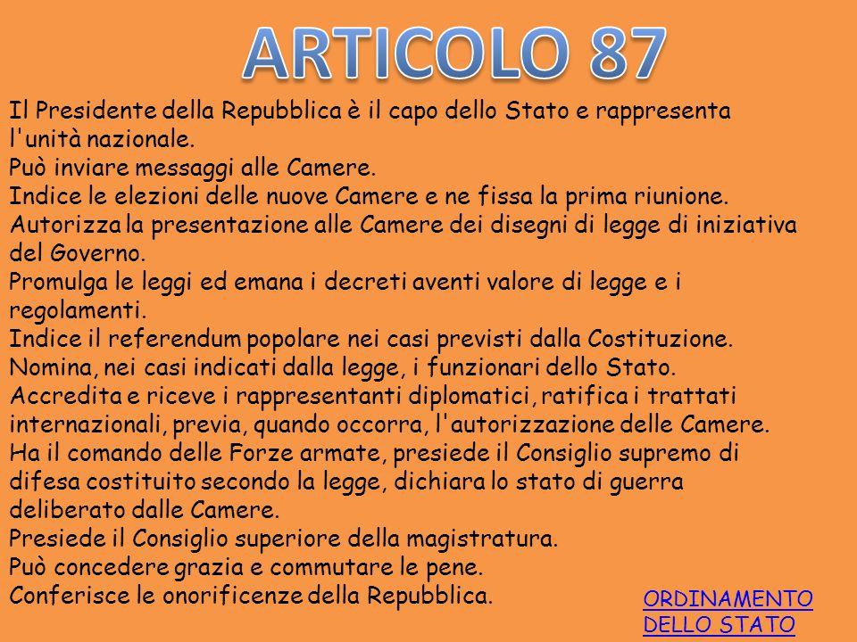 ARTICOLO 87 Il Presidente della Repubblica è il capo dello Stato e rappresenta l unità nazionale. Può inviare messaggi alle Camere.